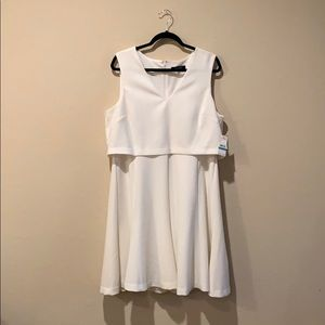 Never worn Nine West white sleeveless lined dress!